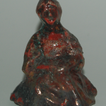 Jed Gjerek, ceramic figure, one of works from open fire firing collection