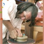Spancirfest Varazdin Croatia, Jed Gjerek is doing pottery wheel throwing demonstration